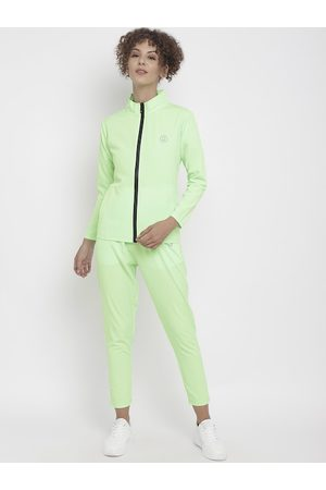 CHKOKKO Women Fluorescent Green Solid Tracksuit
