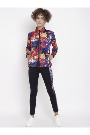 CHKOKKO Women Black & Red Abstract Printed Tracksuit