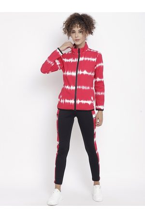CHKOKKO Women Red & Black Track Suit