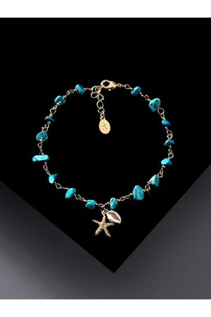 Accessorize Women Anklets - Women Blue & Gold Gold-Plated Shell Raw Cut Stones Anklet