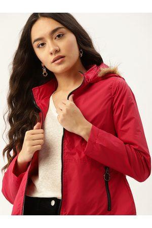 DressBerry Women Red Solid Hooded Parka Jacket