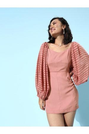 Quiero Pink Georgette Bodycon Mini Dress