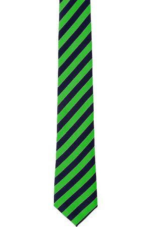 Blacksmith Men Green & Black Striped Broad Tie