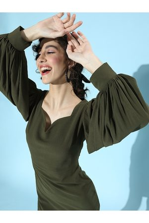 MISH Olive Green Georgette Bodycon Dress