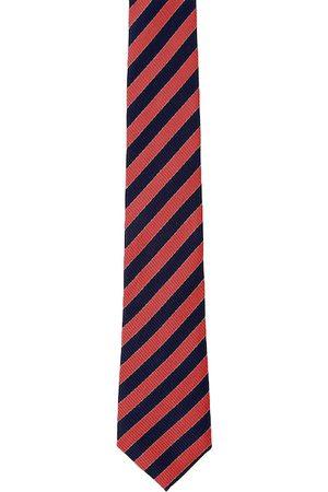 Blacksmith Men Red & Navy Blue Striped Broad Tie