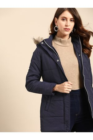 all about you Women Navy Blue Solid Longline Hooded Parka Jacket