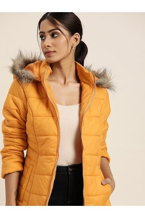 all about you Women Yellow Solid Hooded Longline Parka Jacket