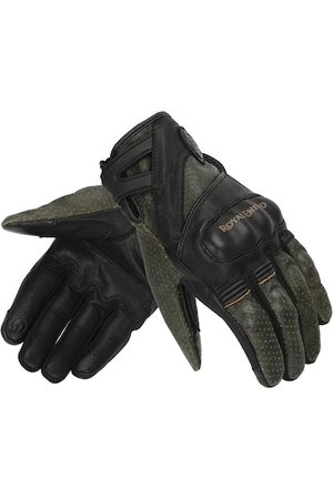 Royal Enfield Men Gloves - Men Black & Olive-Green Colour-Blocked Leather Stalwart Riding Gloves