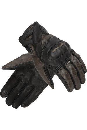 Royal Enfield Men Black & Brown Colourblocked Leather Stalwart Riding Gloves