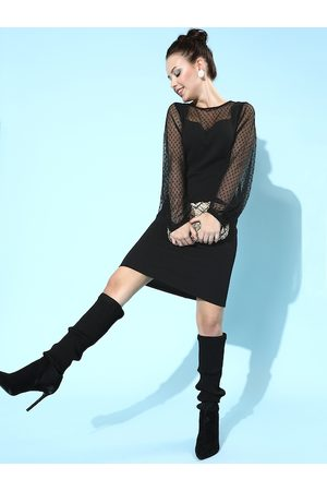 Athena Black Bodycon Dress with Tulle Sleeves