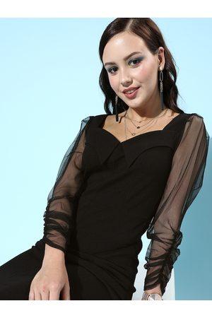 Athena Black Bodycon Midi Tulle Dress