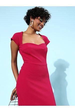 Athena Fuchsia Sweetheart Neck Scuba Bodycon Dress