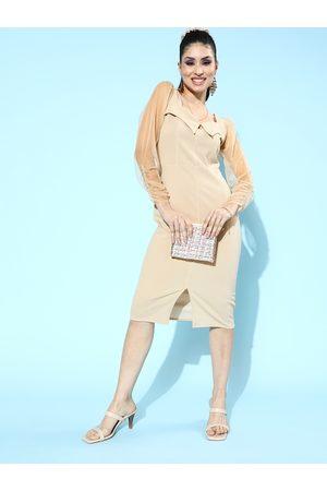 Athena Beige Bodycon Midi Tulle Dress with Collared Neckline