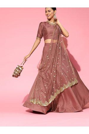 Inddus Women Mauve & Golden Sequinned Net Lehenga Saree