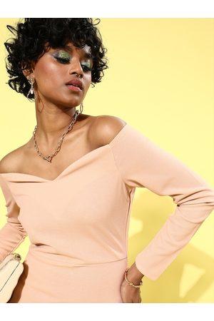 Athena Women Bodycon Dresses - Beige Scuba Bodycon Dress