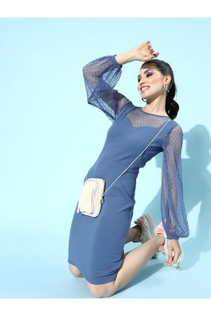 Athena Blue Bodycon Dress with Tulle Sleeves