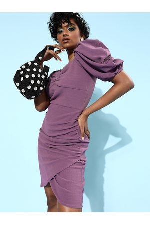 Athena Lavender Bodycon Dress with Puff Sleeves