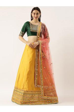panchhi Women Yellow Silk Semi-Stitched Lehenga Choli & Unstitched Blouse with Dupatta