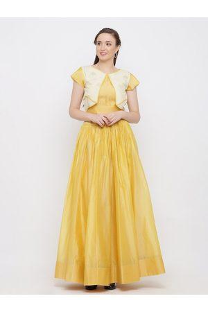Indian Virasat Women Yellow & Off White Printed Ready to Wear Lehenga with Blouse