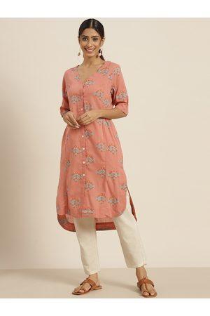 Sangria Women Kurtas - Women Pink & Blue Ethnic Motifs Printed Pure Cotton Straight Kurta