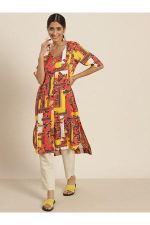 Sangria Women Orange & Navy Blue Quirky Print High-Low Straight Kurta
