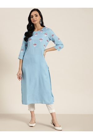 Sangria Women Blue & Maroon Floral Embroidered Kurta