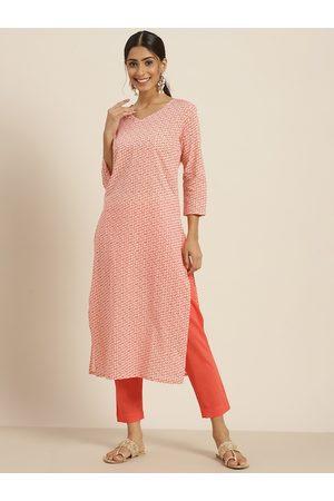 Sangria Women Orange & White Printed Regular Pure Cotton Kurta with Trousers