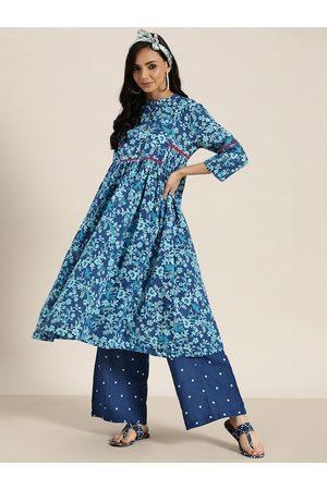 Sangria Women Blue Printed Pure Cotton A-Line Kurta with Palazzos