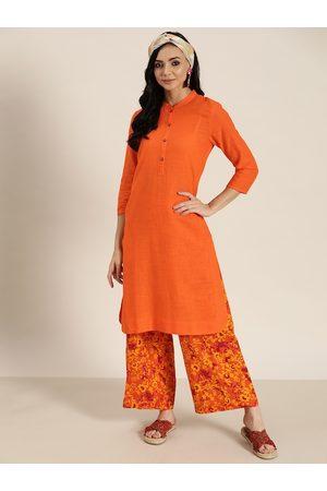 Sangria Women Orange Solid Pure Cotton Straight Kurta with Printed Palazzos