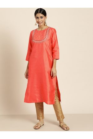 Sangria Women Coral Orange Solid Straight Kurta with Embroidered Detail