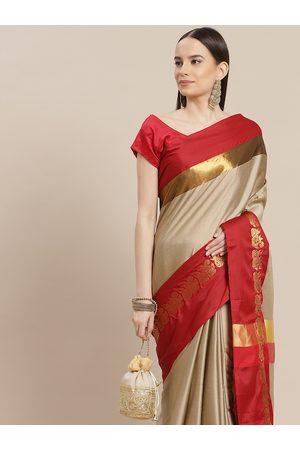Anouk Women Beige & Red Woven Design Banarasi Saree
