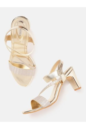 Anouk Gold-Toned Shimmer Party Block Heels