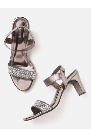 Anouk Women Gunmetal-Toned Embellished Handcrafted Block Heels