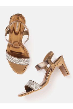 Anouk Women Bronze-Toned Embellished Handcrafted Block Heels