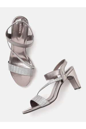 Anouk Gunmetal-Toned Shimmer Party Block Heels