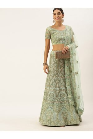 LADUSAA Women Mint Green & Pink Embroidered Semi-Stitched Lehenga & Blouse with Dupatta