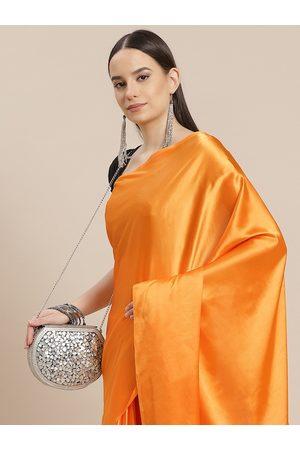 Anouk Women Orange Solid Satin Saree