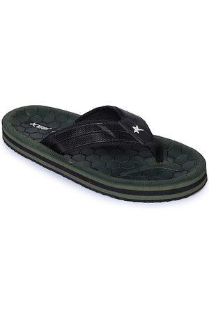 REFOAM Men Olive Green & Black Rubber Thong Flip-Flops