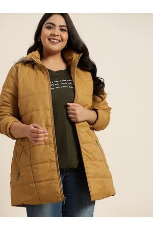 Sztori Plus Size Women Mustard Yellow Hooded Longline Parka Jacket