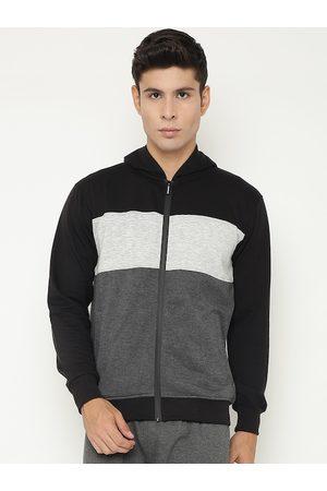 Chkokko Men Black & Grey Colourblocked Fleece Sporty Jacket