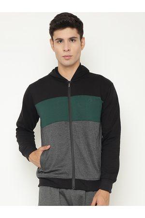 Chkokko Men Black Green Colourblocked Fleece Sporty Jacket