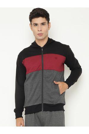 Chkokko Men Black & Maroon Colourblocked Fleece Sporty Jacket