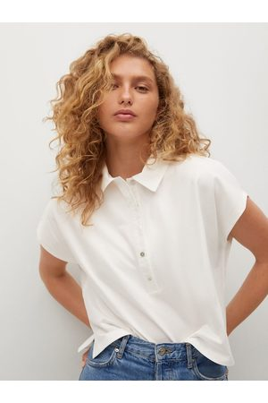 MANGO Women White Pure Cotton Solid Extended Sleeves Polo Collar T-shirt