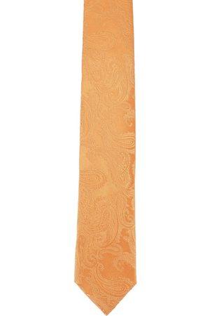 Alvaro Castagnino Men Silk Orange Printed Skinny Tie