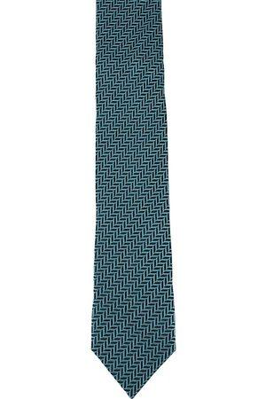 Alvaro Castagnino Men Silk Turquoise Blue & Black Woven Design Skinny Tie