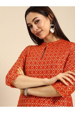 Anouk Women Orange & Off White Geometric Design Printed Keyhole Neck Printed Kurta