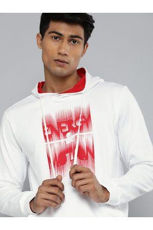 HRX by Hrithik Roshan Men White & Red Printed Hooded Sweatshirt
