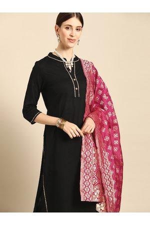 Anouk Women Black & Magenta Solid Jacquard Pure Cotton Kurta with Trousers & Dupatta