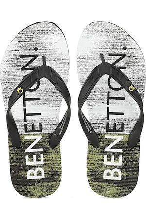 United Colors of Benetton Men Black Printed Flip Flops