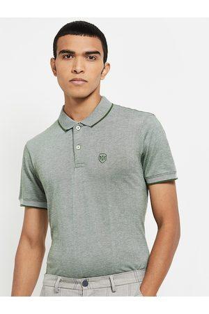 max Men Green Polo Collar T-shirt